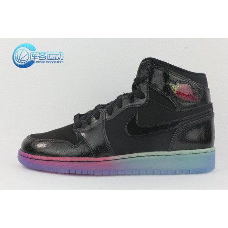 723cffe8277493 New Sale Nike Air Jordan 1 GS Aj1 Black Rainbow Patent Leather 9 Hole  Female Models 705296-