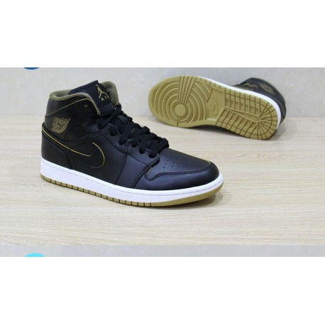 Air jordan 1 mid couples aj1 black gold 554724-554725-04
