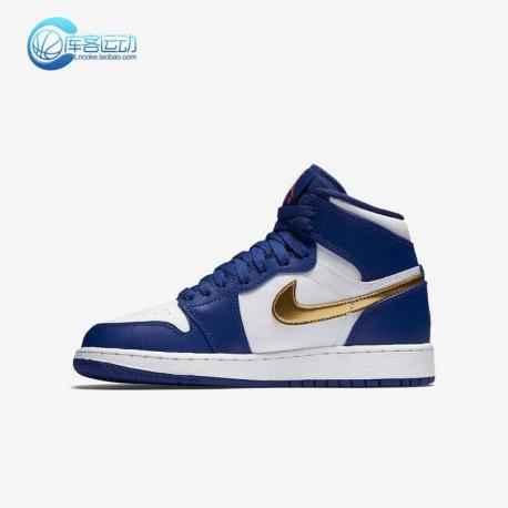 e369e7da33bbc6 New Sale NIke Air Jordan 1 High Aj1 Blue And White Gold 705300-40