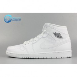 Nike Air Jordan 1 MID Aj1 Whole White Whole Black Men 554724-102-01