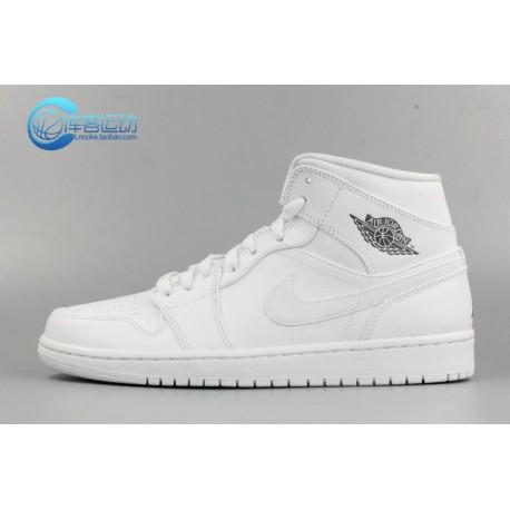 14d3e7d49900 New Sale Nike Air Jordan 1 MID Aj1 Whole White Whole Black Men 554724-102-01