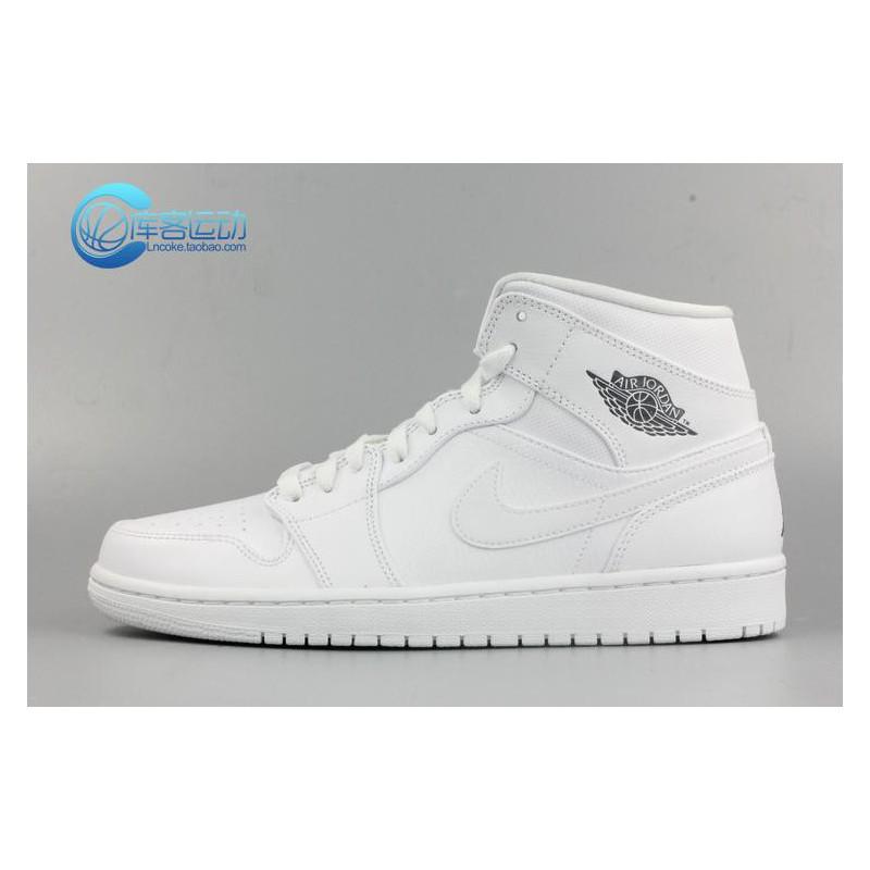 on sale c9c8b eae9c Nike Air Jordan 1 MID Aj1 Whole White Whole Black Men 554724-102-01 ...