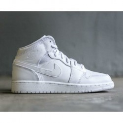 Jordan-Aj1-MID-Boys-Grade-School-White-Aj1-MID-On-Feet-Air-Jordan-1-Mid-GS-AJ1-Whole-white-Zhongbang-Female-models-554725-110