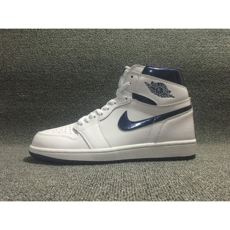 NIKE Air Jordan 1 OG Retro High Metallic Navy Retro Edition Aj1 White Vivid Turquoise Style Code:, 555088-10