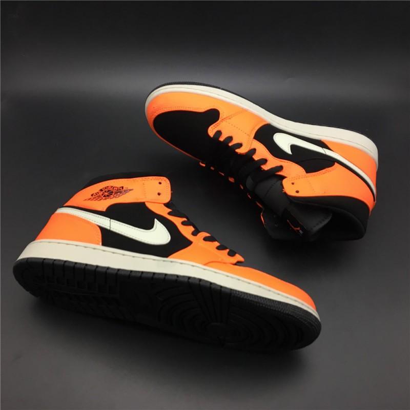 fd59570fc2ad 554724-06240 air jordan 1 mid aj1 mid shattered backboard black orange  origina ...