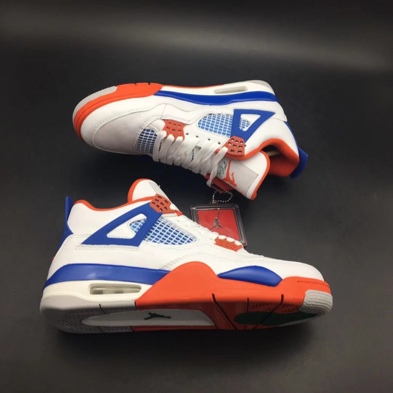 low priced abfa0 50dfe ... 308497-171 Jordan 4 Air Jordan 4 RETRO, White Blue Orange Original  Leather Uppe