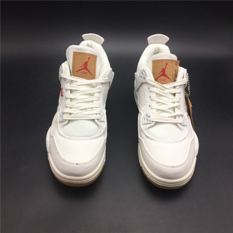 741ef2328a7bbb ... Womens Jordan 4 Reeves Levi S X Air Jordan 4 White Tannins Fabric  Original Premium Edition Style ...
