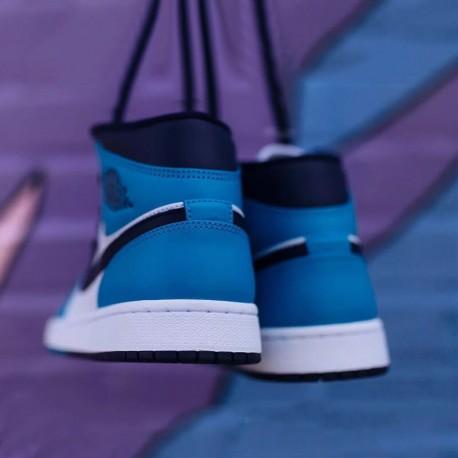 Air jordan 1 mid aj1 wasp acid blue men basketball-shoes 554724-41