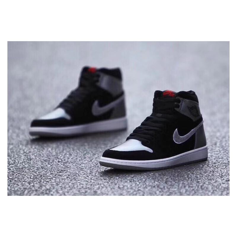 61843989b70ee2 ... Aj5991-062 Air Jordan 1 Aleali May Black Silver Grey Black Embroidery  Double Hook Velvet