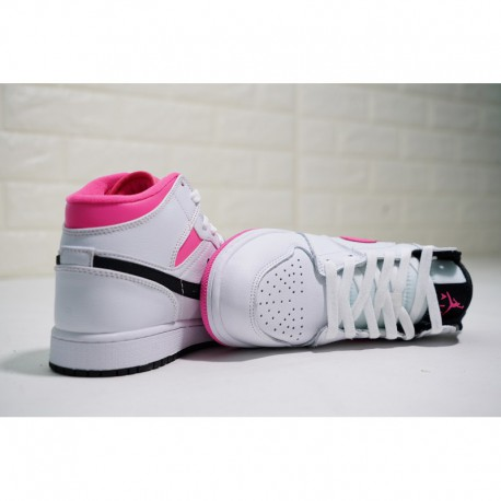 Womens, With FSR Valentine's Day Limited Edition Air Jordan 1 Mid 'hyper Pink Mid All-Match basketball-Shoes mandarin duck whit