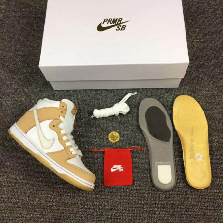Exclusive UNISEX Premier X SB Dunk High Gold Scratch Style Code:881758-217 color off-Whit