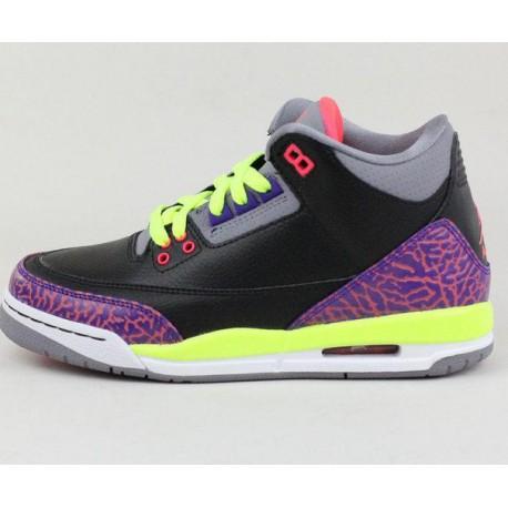 the latest a5261 76d2b Air Jordan Retro 3 Purple,Air Jordan 3 Retro Purple,Nike Air Jordan 3 Retro  GS AJ3 Black Purple Clown 441140-039