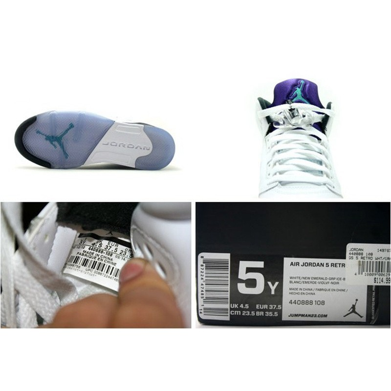 ca632e640e8252 Air Jordan 5 White Grape Womens Air Jordan 5 Retro AJ5GS 440888-10 ...