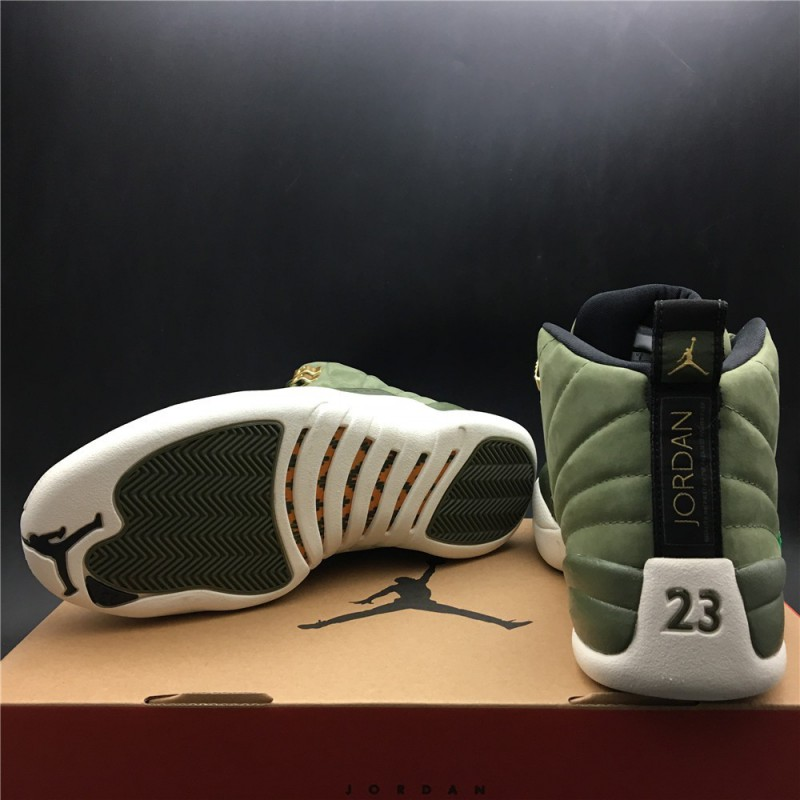 4099e3cbb5 130690-301 jordan 12 aj 12 graduation pack green deerskin chamois-dressed  true carbon ...
