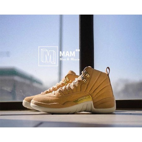 super popular aeef3 fe1d4 Air Jordan Wheat 12,Air Jordan 12 Wheat,Air Jordan 12 AJ12 Wheat Suede Gold  Buckle Nude AO6068-203