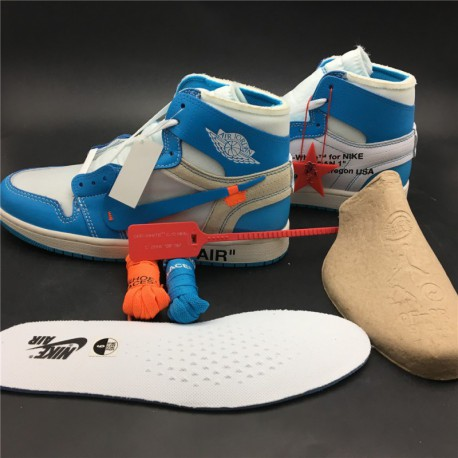 dfd2b2891ad New Sale Aq0818-148 Latest Version Deadstock North Carolina Colorway OFF-WHITE  X Air Jordan 1