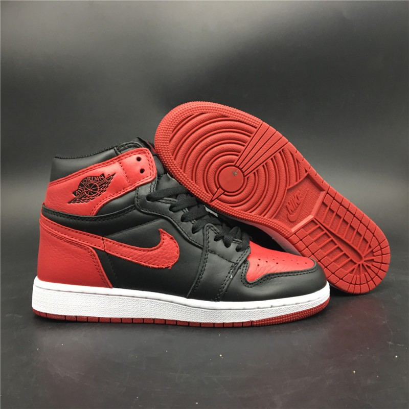 4ca5289de77e95 555088-001 Womens Aj1 Air Jordan 1 Retro High OG Banned Original Leather  Uppe ...