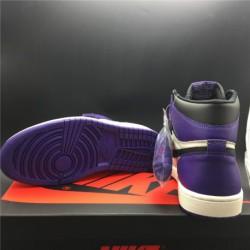 555088-501 updated air jordan 1 court purple black purple toe original leather upper coriu