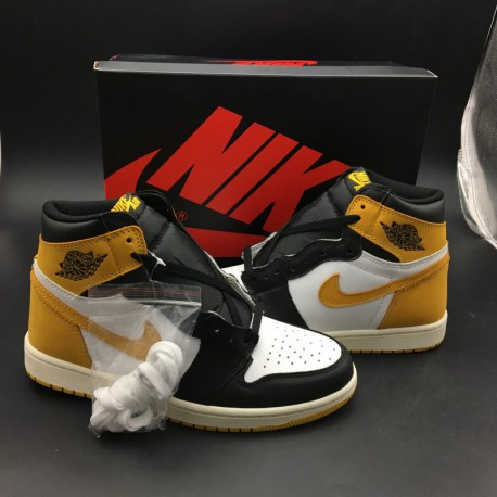 ef699a1f1b5f New Sale 555088-109 air jordan 1 yellow ochre yellow suede black to