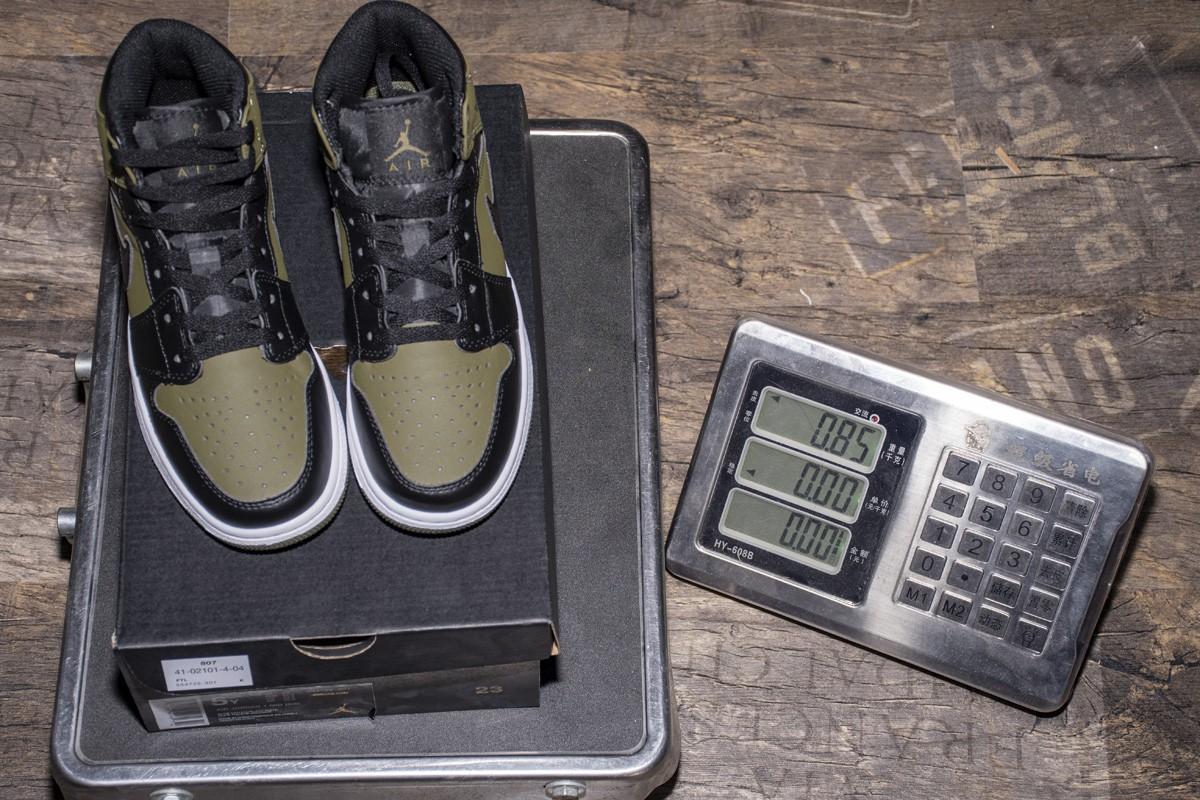 ec1e9dc2eef Air Jordan 1 Green,Air Jordan 1 MID Green,Black Marine Green Air Jordan 1  MID GS 554725-301 Olive Canvas/Black/White