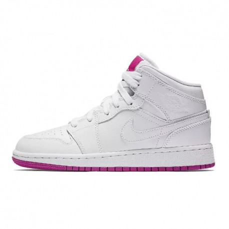 Air jordan 1 mid aj1 air jordan 1 white powder beauty basketball-shoes 555112-100 sportshoe