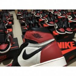555088-610 Womens Air Jordan 1 Black Toe 2.0 Super Original Leather Upper Import Materia