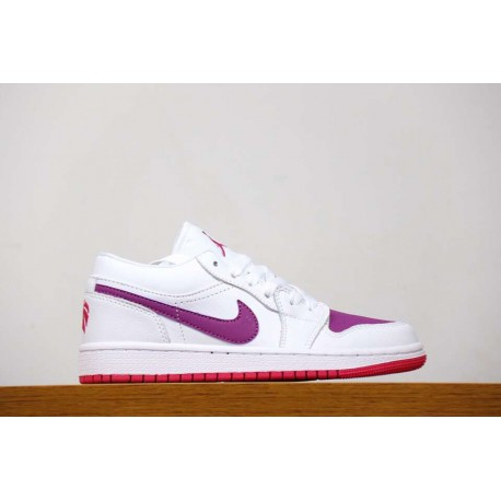 Nike Air Jordan 1 Low GS White Pink Purple Valentine's Day Womens Low Basketball-Shoes 554723-161 limited edition colorwa