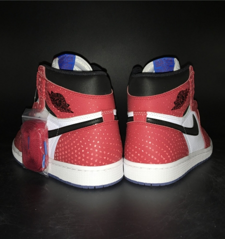 555088-013 Quality Inspection Air Jordan 1 Shadow Spiderman White Bred Color 3m Underply Visible Outside Tiger Fight Edition Or